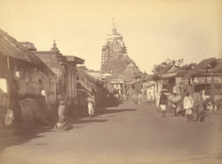 View from the east towards the Jagannatha Temple, Puri, with the bazaar in the foreground